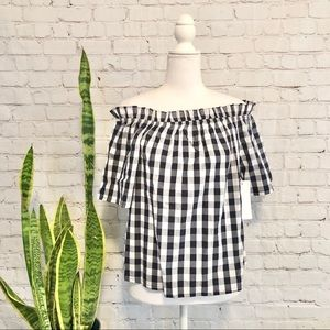 NWT Cavalini Off the Shoulder Cotton Gingham Top